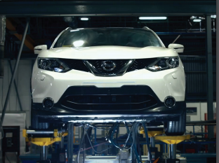 A Nissan car undergoes vehicle durability tests.