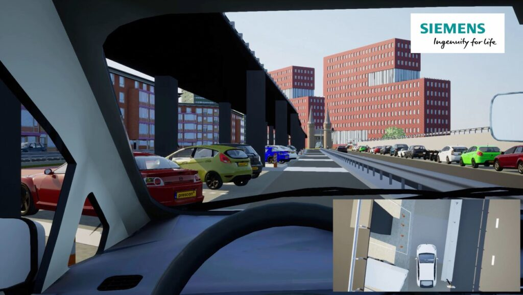 Virtual testing environment, modeled in Simcenter Prescan