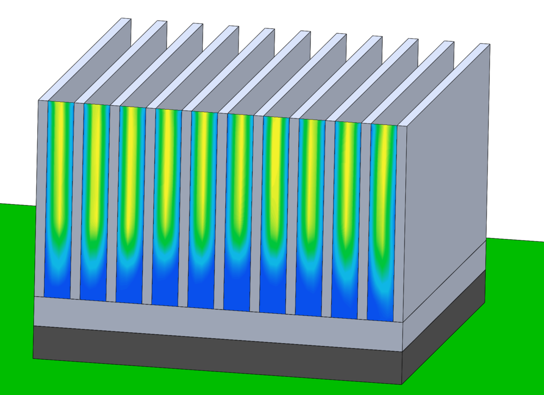Surface plot of air speed between heat sink fins in Simcenter Flotherm XT