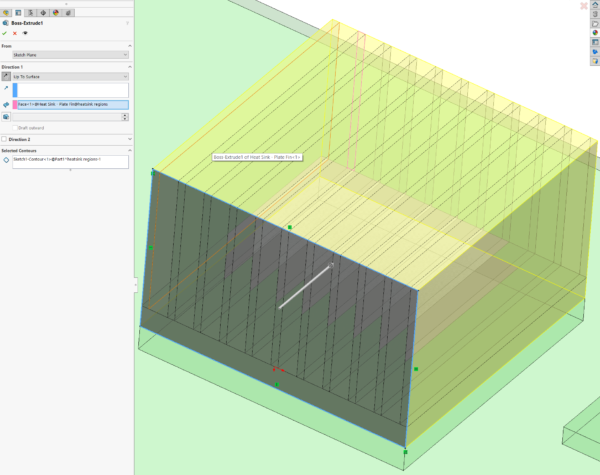 Extrude 2D sketch to create the region part in Simcenter Flotherm XT