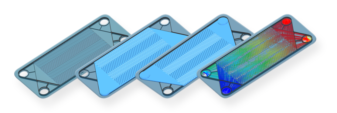 Two plates of a plate heat exchanger