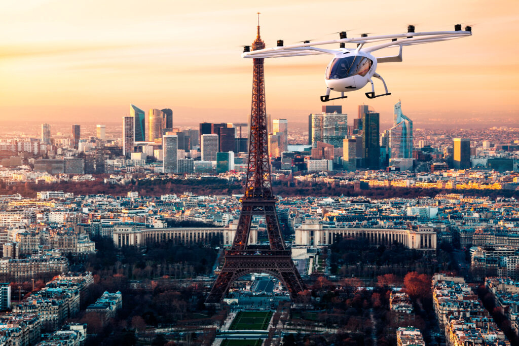 A Volocopter air taxi flies over Paris, France.