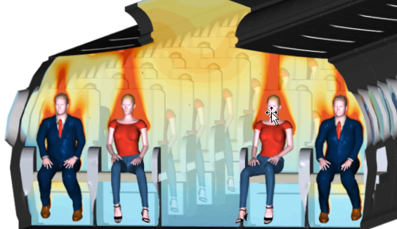 Simulation of passenger inside an aircraft cabin for improved thermal cabin comfort