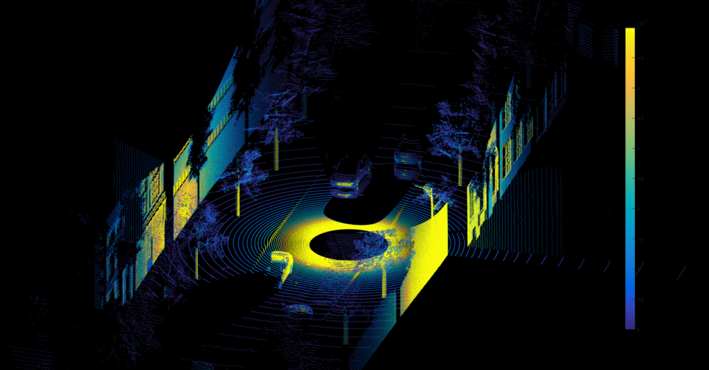 This figure shows a generated lidar point cloud with a mirror image of a vehicle reflected on a puddle. This can only be accurately recreated by using multi-bounce effects in simulation.