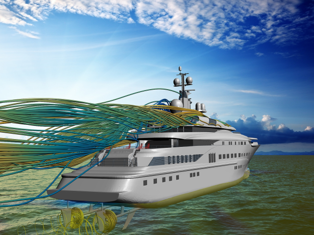 CFD simulation of a yacht showing both hydrodynamic and aerodynamic analysis