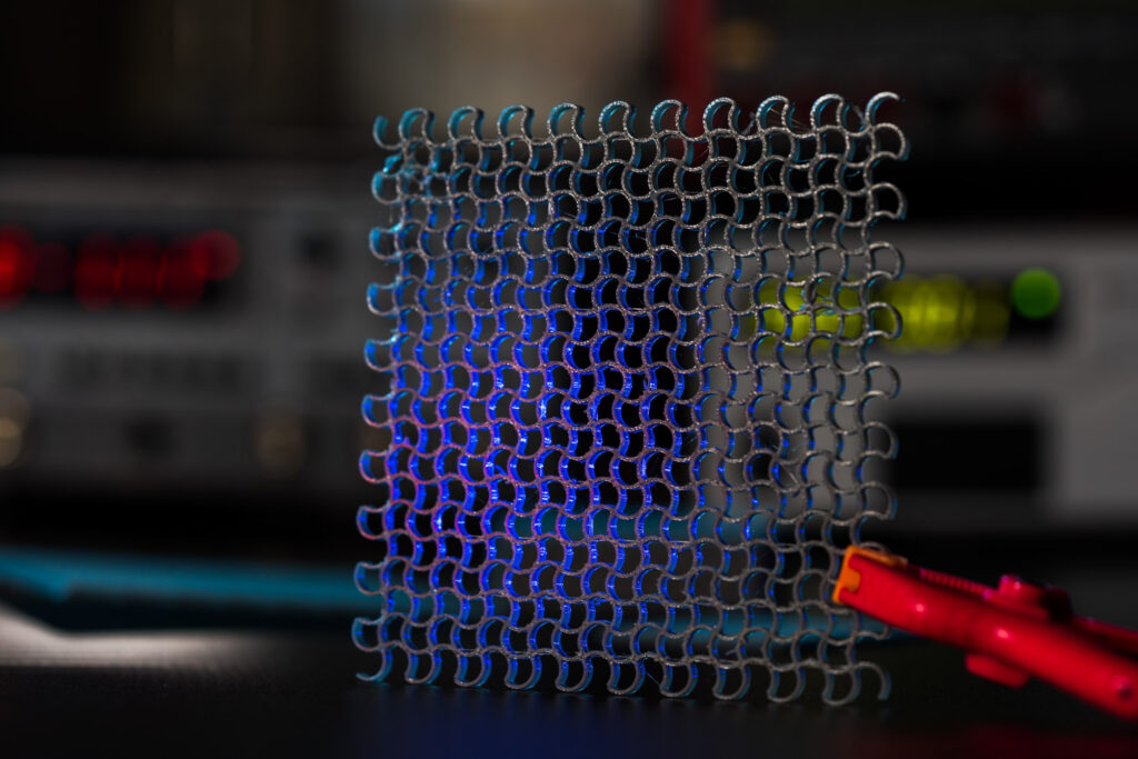 Sample of a metamaterial in a laboratory