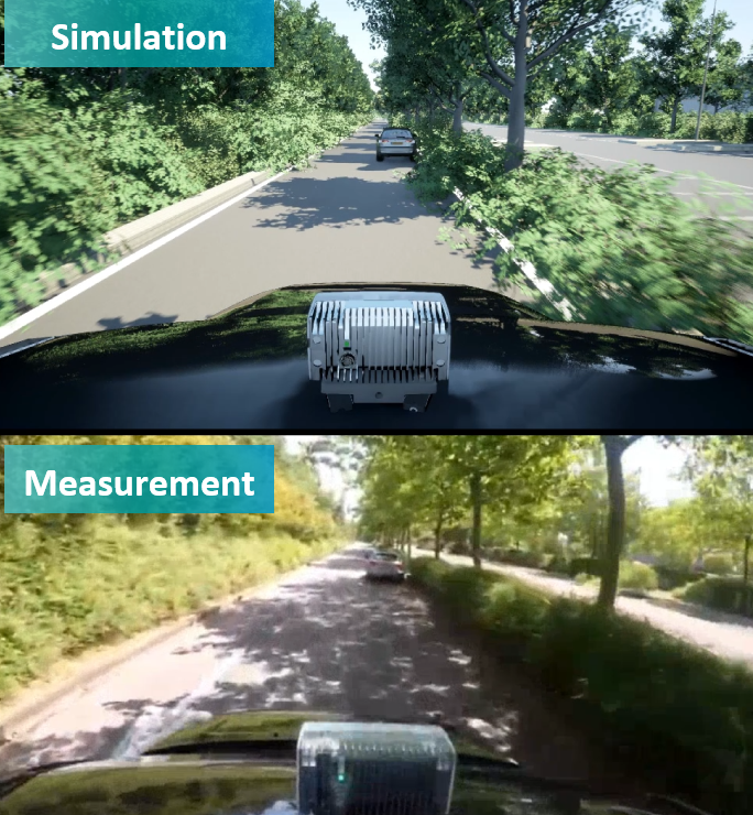 Comparison between the digital twin used in simulation vs. the measurements done in real life.
