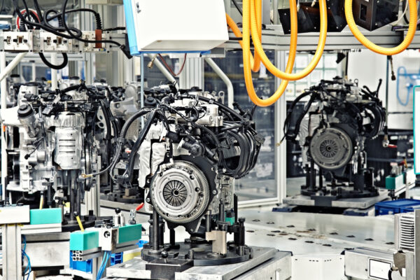 View of a car engine production line