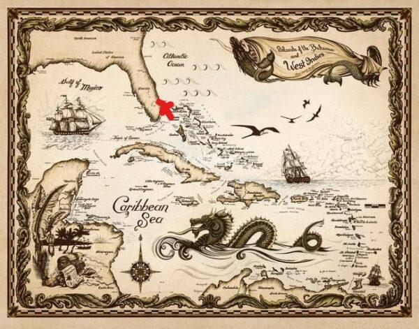 Pirate sea map