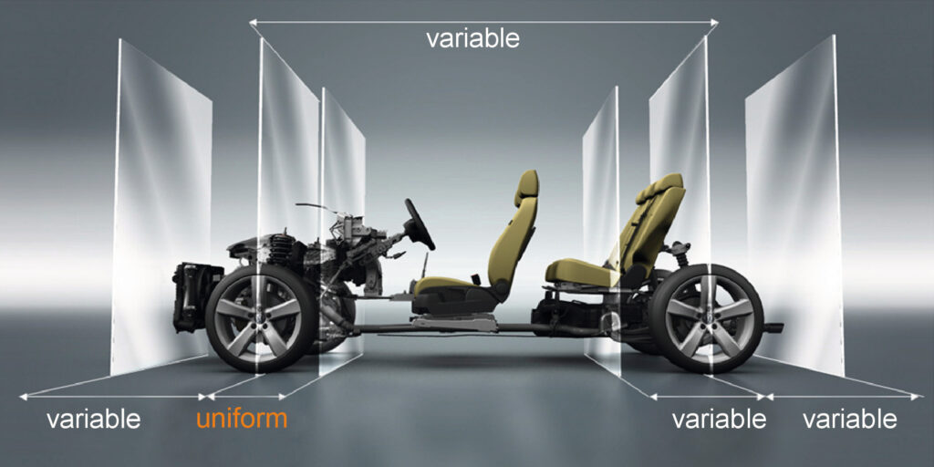 The graphic explains Volkswagen MQB approach. It displays variable and fixed masses on a sample vehicle.