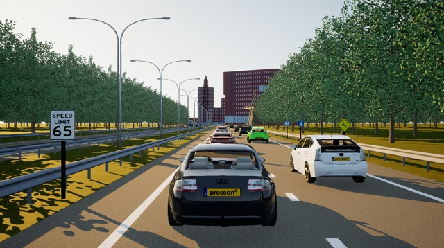 Screenshot of the Simcenter Prescan Software: cars driving on a speedway.