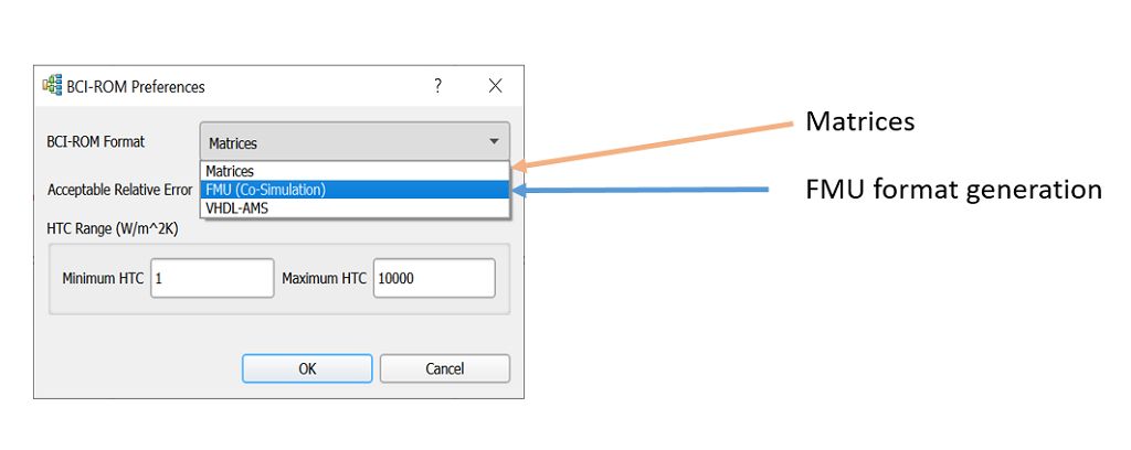BCI-ROM Preferences Window - Simcenter Flotherm 2002.2