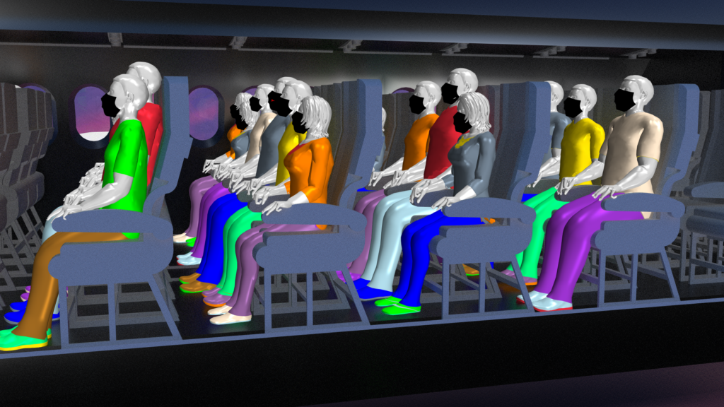 High-fidelity CFD simulation of cough droplet propagation in an aircraft cabin