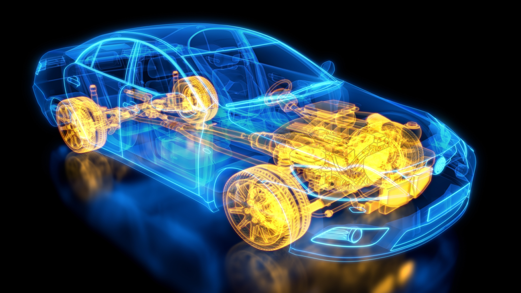 see-through blue car with yellow powertrain components