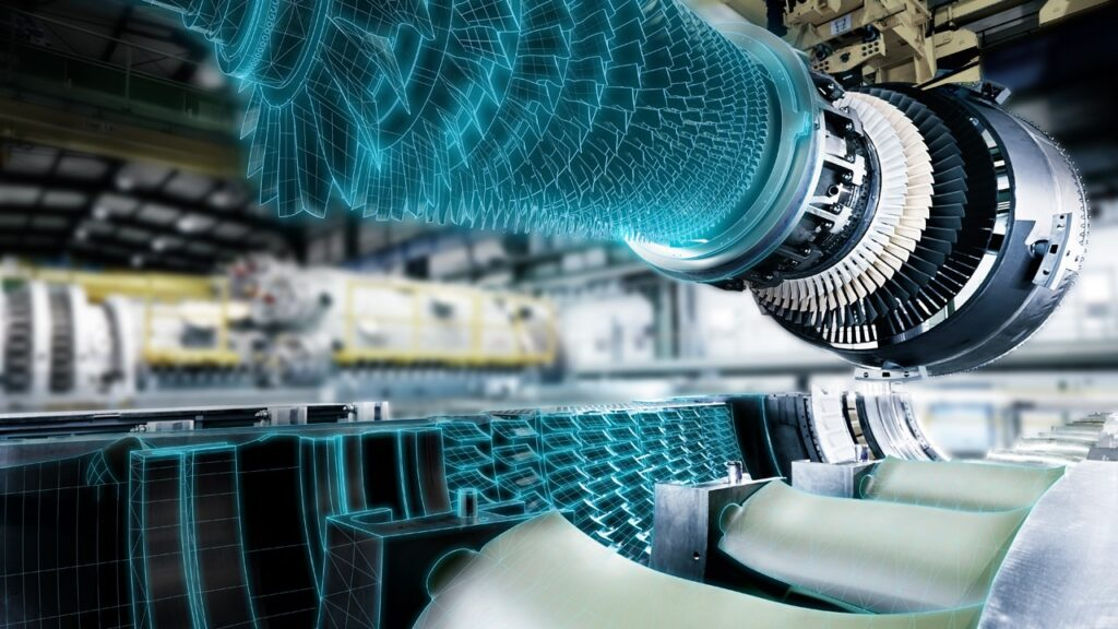The digital twin of a gas turbine. Simulation of reacting flows is a key for efficient development of future combustion systems