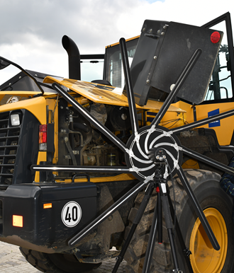 Heavy equipment NVH testing: Simcenter Sound Camera pointed to the wheel-loader powertrain