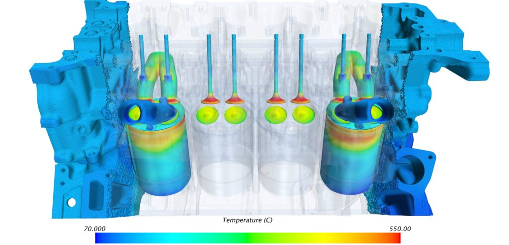 Simcenter STAR-CCM+ CFD simulation showing engine thermal analysis courtesy of R&D CFD
