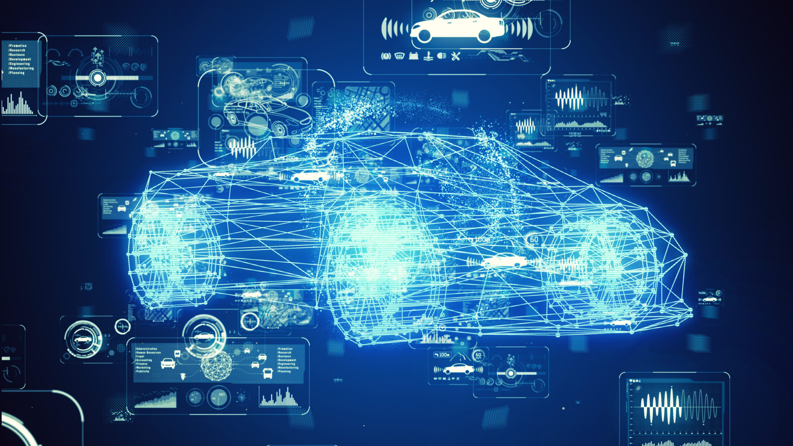 Blue wireframe of an intelligent electric car