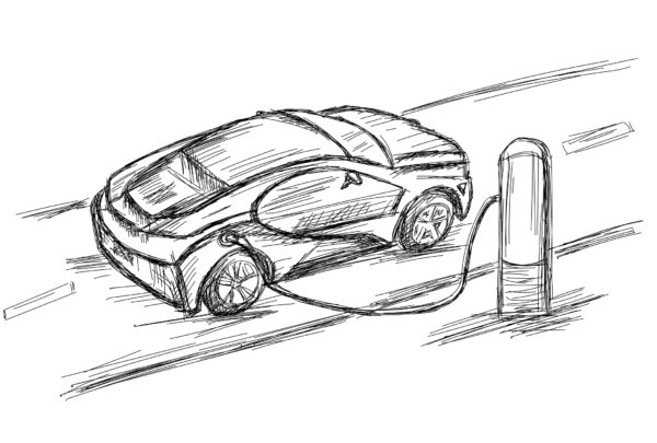 Sketch of an electric vehicle design with charging station