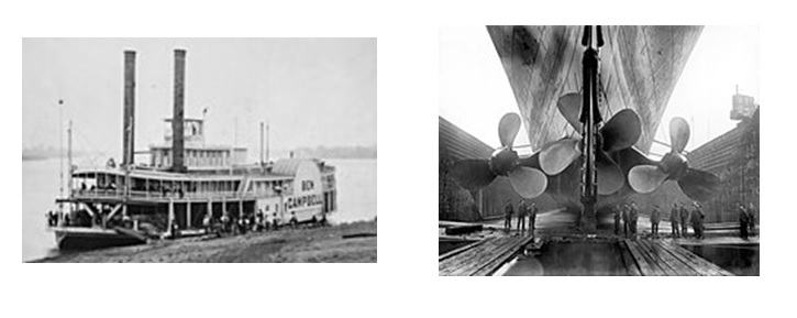 Propulsion system of ships changed from puddle wheelers to screw propellers in 19th century.