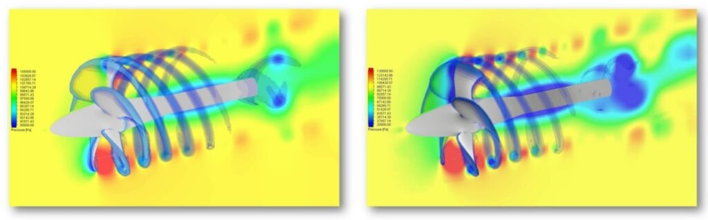 Comparison of pressure distribution different scaled models