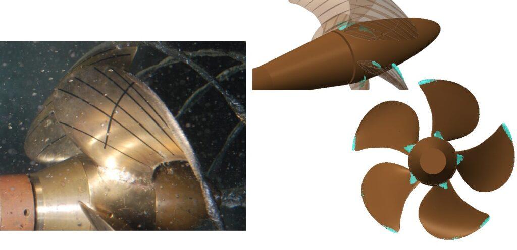 Comparison of cavitating area measurements(left) and simulation (right)