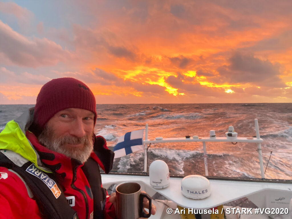 Ari Huusela of Finland sailing the STARK during the 9th Vendée Globe.