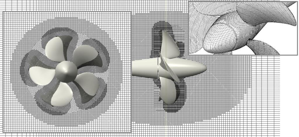 Mesh around the propeller