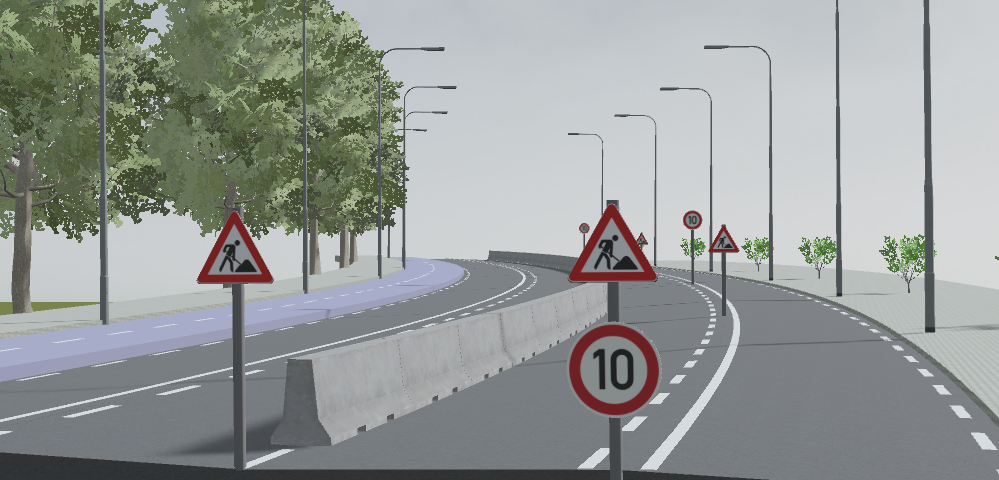 Imported OpenDRIVE road in Simcenter Prescan 2021.1