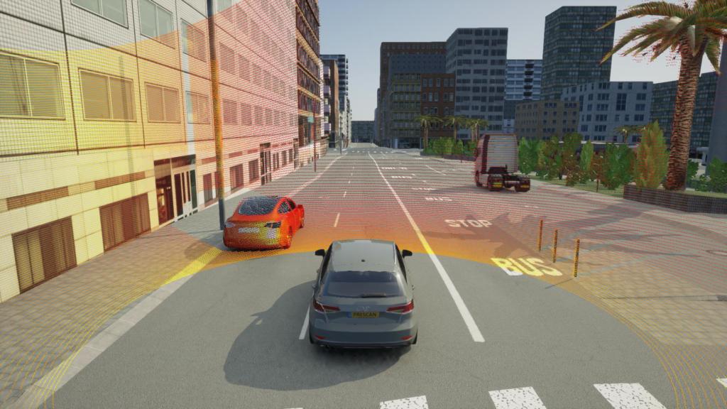 Autonomous driving with a point cloud sensor in a San Francisco city model.