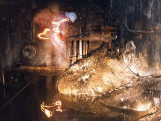 The Elephant's Foot is the nickname given to a large mass of corium and other materials formed underneath the Chernobyl Nuclear Power Plant, near Pripyat, Ukraine, during the Chernobyl disaster of April 1986