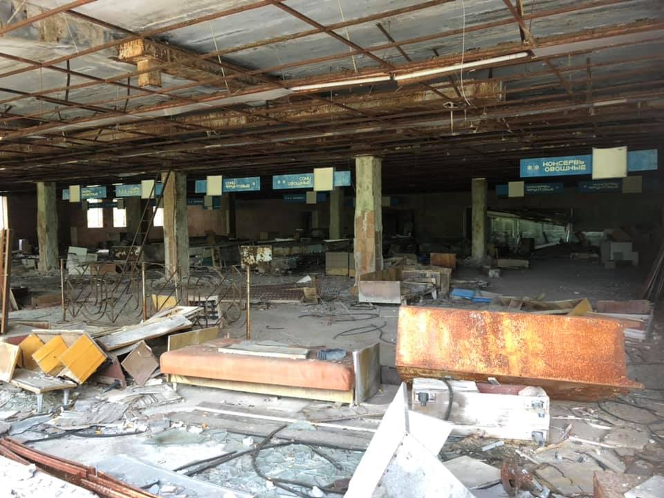 Remains of a supermarket in Chernobyl