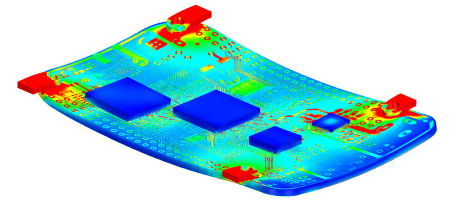 Simcenter FLOEFD Structural module simulation of a PCB.