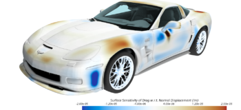 Adjoint Function showing sensitivity of drag obtained from veicle aerodynamics CFD simulation