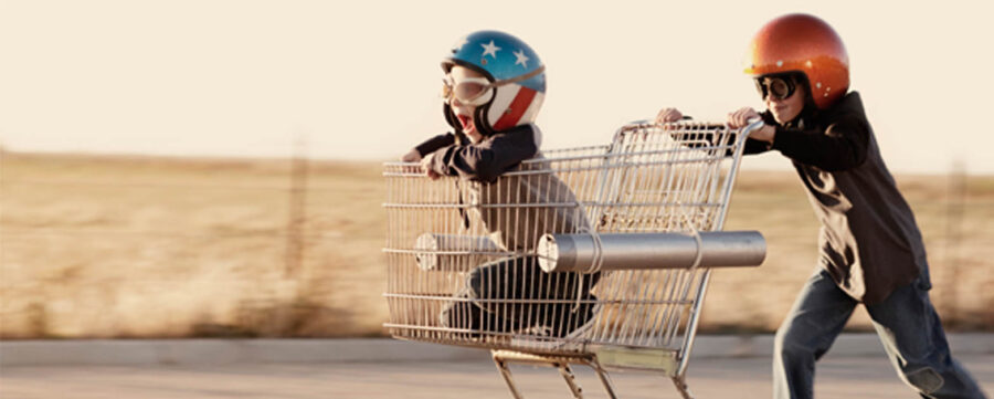 Kids playing in trolley