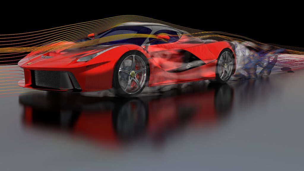 Vehicle aerodynamics CFD simulaiton of a supercar using steady state RANS. Fast yet accurate