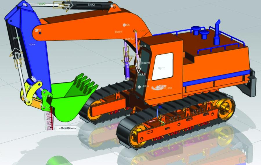 Multibody dynamics simulation of an excavator