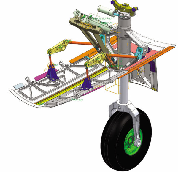 Multibody model of a landing gear in Simcenter 3D Motion