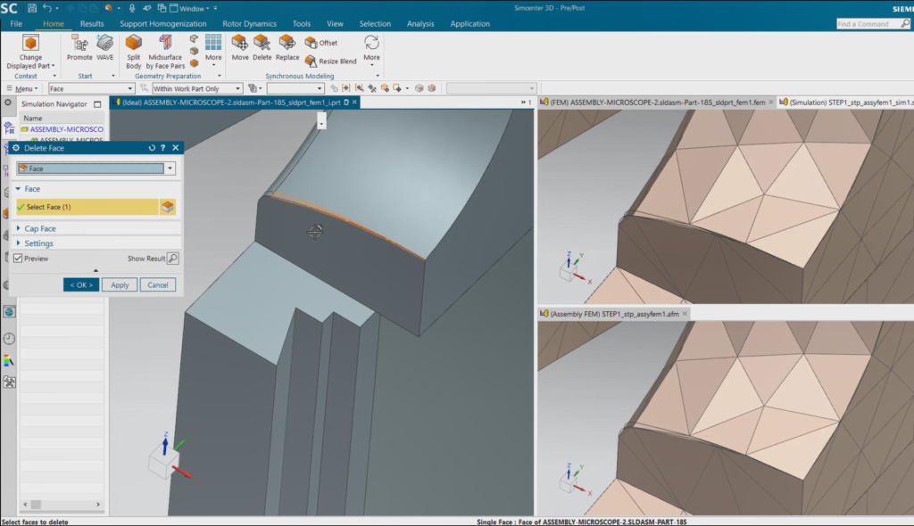 Multiple tabbed windows in Simcenter 3D showing iPart, FEM and AFEMs