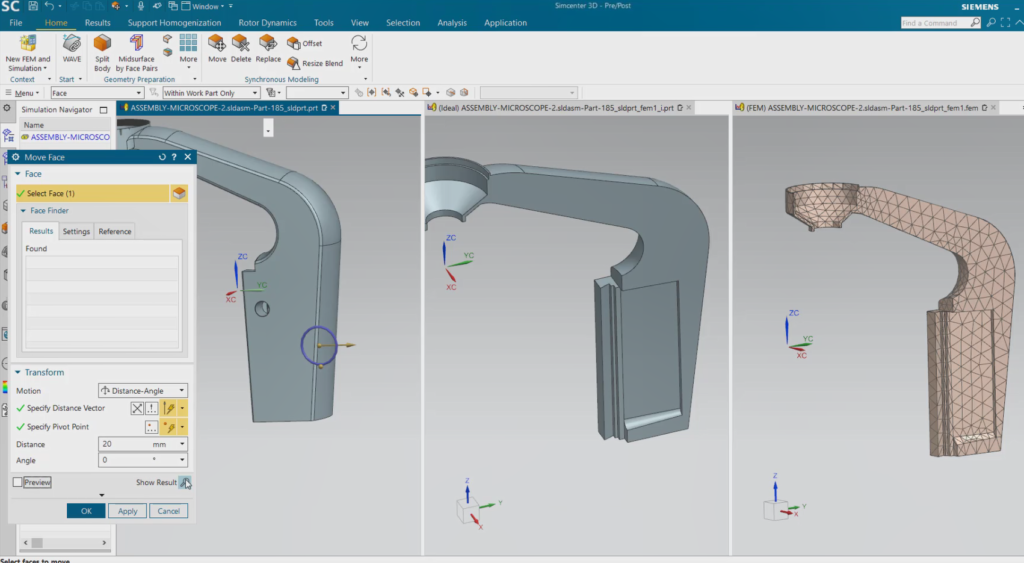 Multiple tabbed windows to see how design changes ripple across simulation model