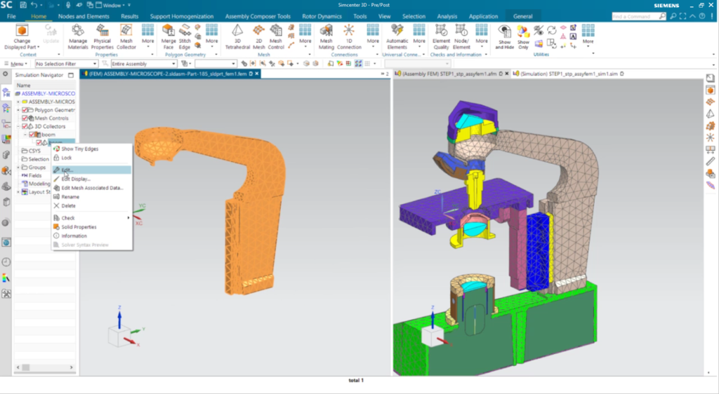 Use mutliple tabbed windows to view your FE assembly and individual FE components simultaneously