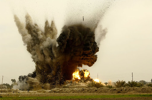Impact of a single Mk-82 500llb bomb