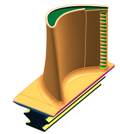 Simcenter 3D model of the blade, being prepared for blade cooling simulation