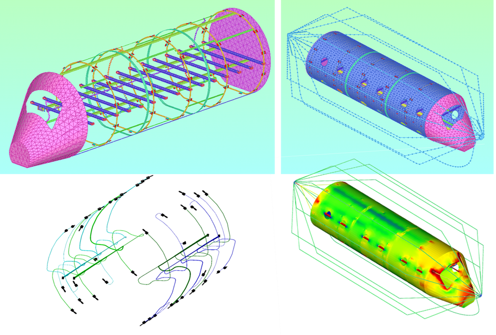 Example of Aircraft Fuselage Mock -Up for Lighting Tools validation: meshed model, harness and currents (Courtesy of SAFRAN - Labinal)