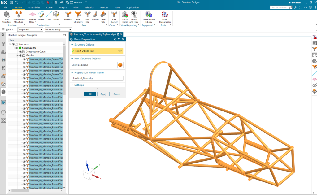 Create idealized geometry for beam model in NX with new Beam Preparation command