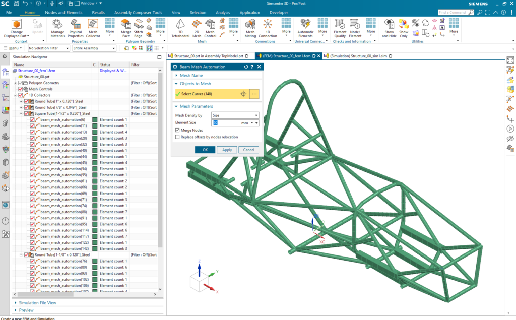 Automatically create your FE beam model in seconds with new Beam Mesh Automation in Simcenter 3D