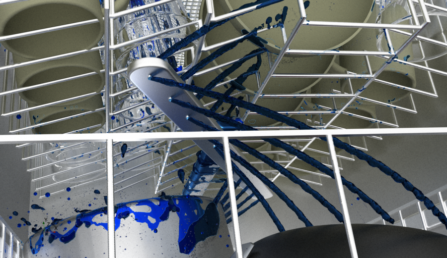Hybrid Multiphase CFD simulation with AMR and fluid film of a dishwasher