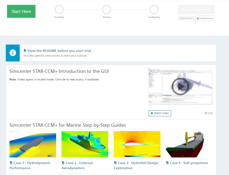 Simcenter STAR-CCM+ free trial launch page