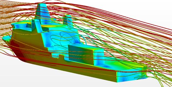 streamlines showing aerodynamic wake behind a multi-role vessel. Free trial tutorial.