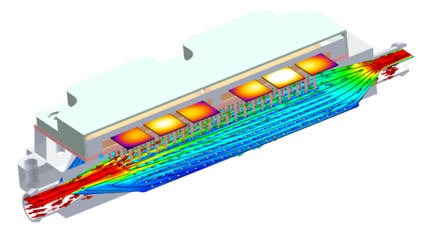 Cut plot showing speed of fluid movement and temperature inside an IGBT